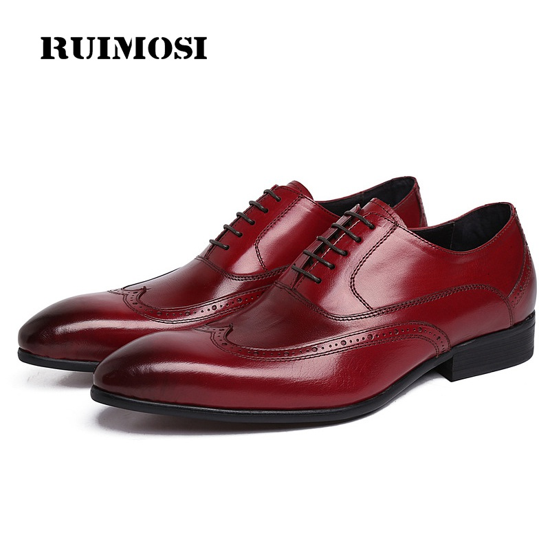RUIMOSI Luxury Brand Man Wing Tip Brogue Shoes Genuine Leather Bridal Oxfords Pointed Toe Men's Dress Flats For Wedding PF23