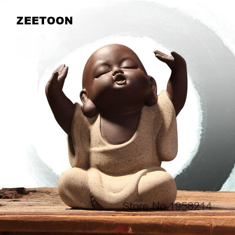 Chinois À La Main Belle Thé Ensemble Thé Animal Pourpre Sable Bouddha Moine Thé Accessoires Home Decor Voiture Yixing Poterie Ornement Décoration