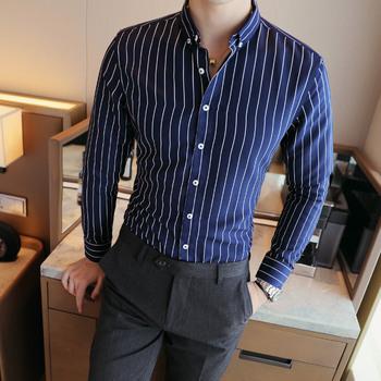 Męskie kontrastowe paski w pionowe paski ubranie koszule wysokiej jakości wygodna bawełniana koszulka z długim rękawem Slim-fit tanie i dobre opinie Plac collar Pełna Formalne COTTON Pojedyncze piersi Devin Du M-5XL Suknem REGULAR Tuxedo koszule Time to market Applicable season