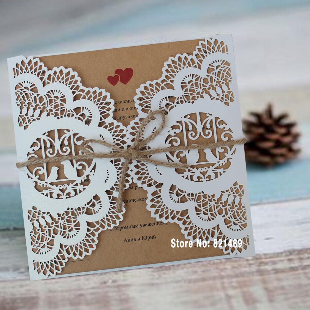 Aliexpresscom buy white wedding invitation rustic for Buy wedding invitations in store