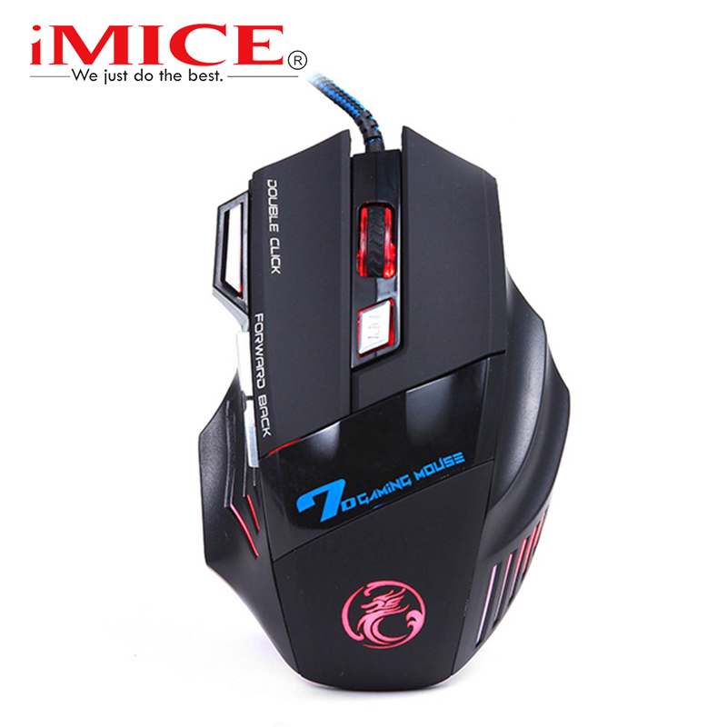 Imice USB Gaming Mouse 7 Button 5500DPI LED Cable Cable Óptico Ordenador Mouses Gamer Mice Para PC Portátil de Escritorio X7 Ratón de Juego