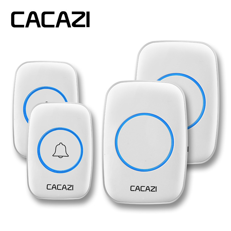 CACAZI Wireless Doorbell Waterproof 2 Battery Button 2 Receivers 300M Remote LED Light Home Cordless Bell 38 Chimes 3 Volume cacazi wireless doorbell waterproof 2 battery buttons 1 receiver 300m remote led light home cordless bell 36 chimes 4 volume