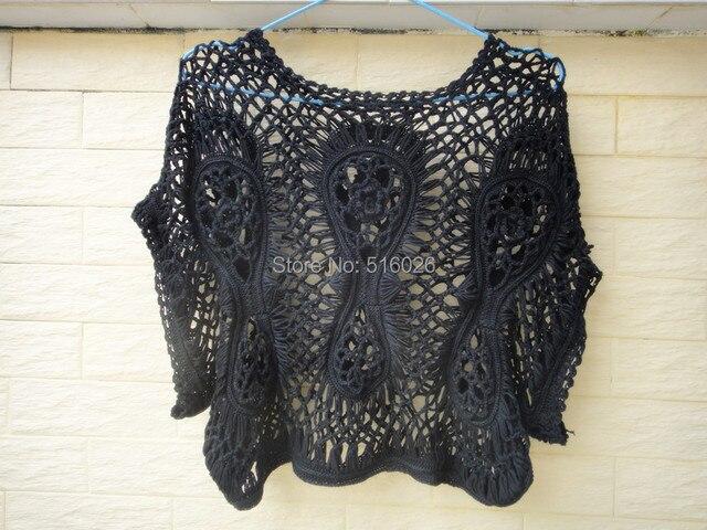 Negro Crochet camisa corta blusa para mujer Summer Cover Up ...