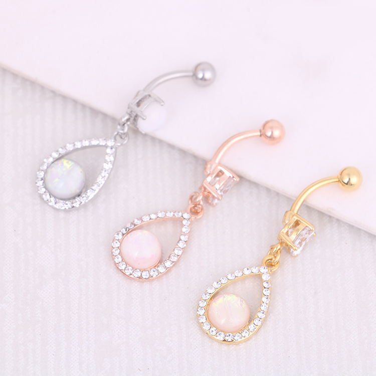 1 PC Titanium Opal Stone Belly Button Rings Pircing Belly Bars Belly Rings Navel Piercing Body Jewelry Ombligo Nombril