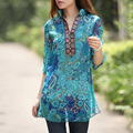 2017 Spring Fashion Women Floral Blouse Embroidery V neck 3/4 Sleeve Casual Chiffon Loose Vintage Tops Shirt Plus Size Blusas