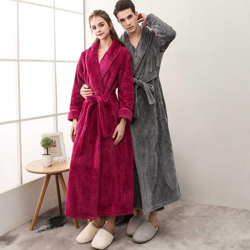 9b6eb0186b RB0290 Men Women Winter Sleepwear Winter Flannel Long Robes Couple Lovers Plus  Size Robes Belt Male