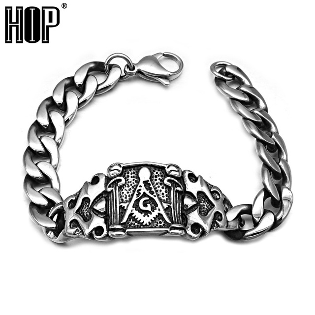 HIP Punk Classic Masonic Men's Chain Bracelet Bangle Silver Plated Stainless Titanium Steel Metal