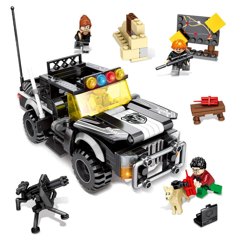 339Pcs City police Camp Trucks Jeeps Car Building Blocks Compatible legoed Army Soldiers Weapon set Bricks Toys for Children
