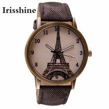 Irisshine Z720 пара унисекс часы люксовый бренд ретро железная башня Наручные часы ковбойский кожаный ремешок аналоговые кварцевые часы