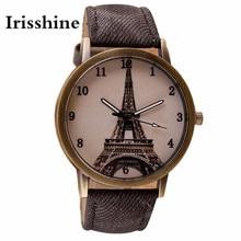 Irisshine Z720 Couple Unisex watches Luxury brand Retro Iron Tower WristWatch Cowboy Leather Band Analog Quartz