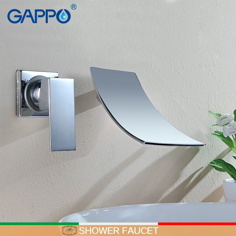 GAPPO Basin Faucet waterfall basin mixer taps brass water mixer sink faucet taps wall mount water tap torneira de chuveiro      GAPPO Basin Faucet waterfall basin mixer taps brass water mixer sink faucet taps wall mount water tap torneira de chuveiro