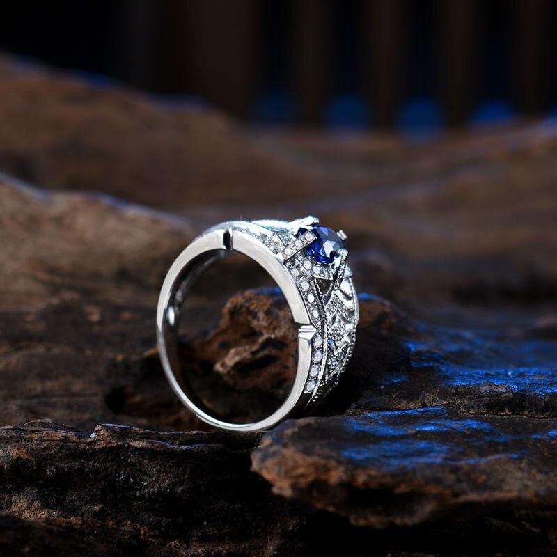 0.53 Karat Diamond Bərk 18K Ağ Qızıl Yastıq 4x5mm Orijinal Mavi - Gözəl zərgərlik - Fotoqrafiya 5