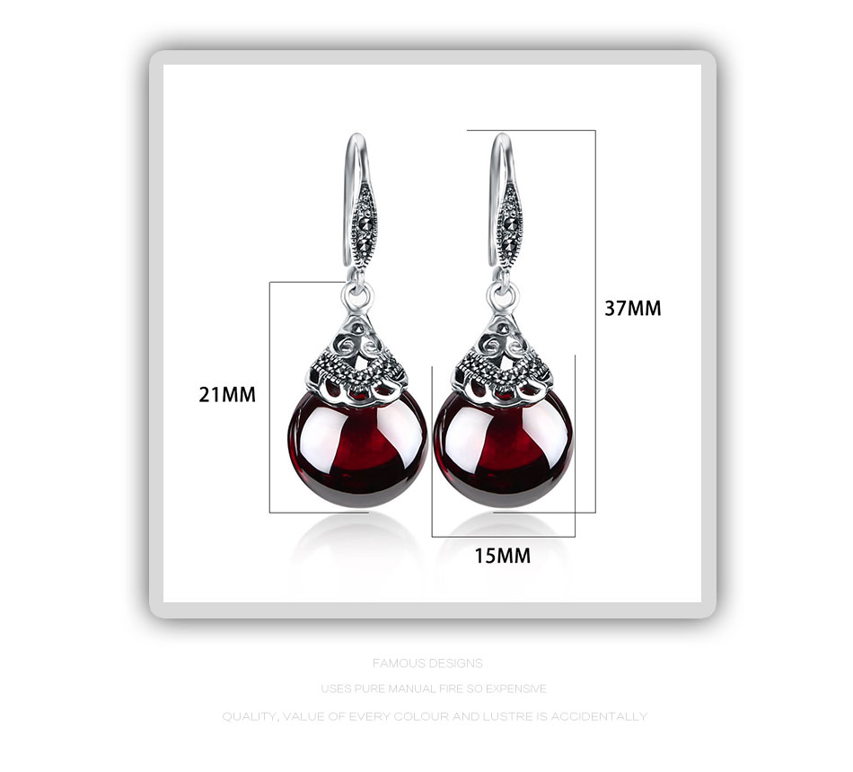 HTB1Y9bHotbJ8KJjy1zjq6yqapXa3 - JIASHUNTAI Retro 100% 925 Sterling Silver Round Garnet Drop Earrings For Women Natural Red Gemstone Ruby Fine Jewelry Best Gifts