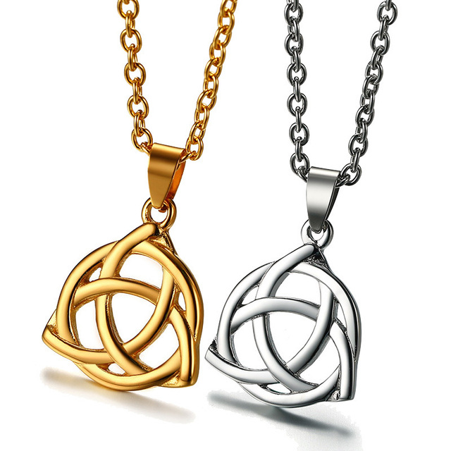 Irish celtics faerys shield triquetra pendant goddess trinitys irish celtics faerys shield triquetra pendant goddess trinitys knots necklace for men stainless steel male female mozeypictures Image collections
