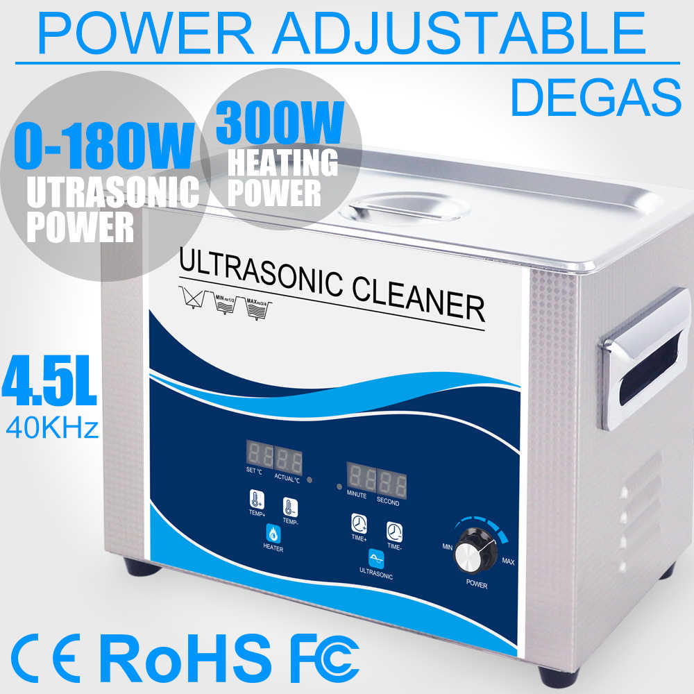 4.5L Ultrasone Reiniger 180 w Power Verstelbare Degas Heater Ultrasound Bad Borstel Cleaner Servies Sieraden Horloges Bullet Tandheelkundige
