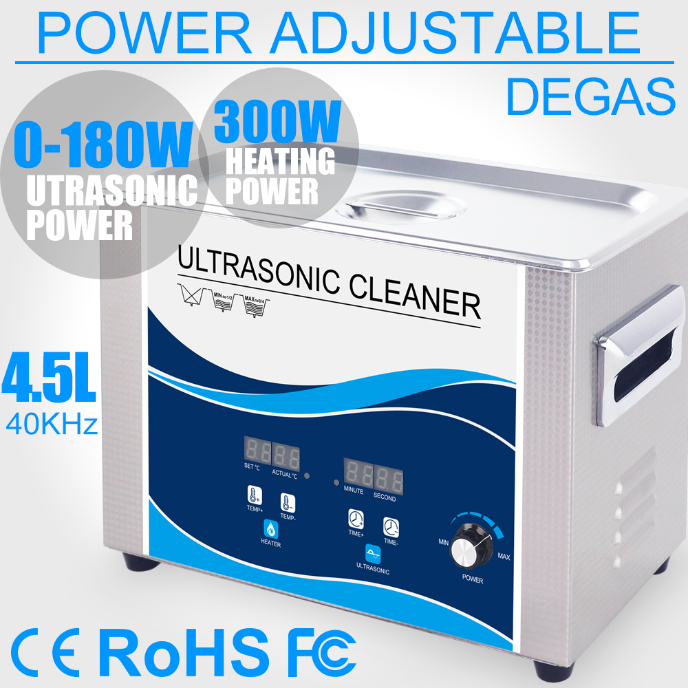 4.5L Ultrasonic Cleaner 180W Power Adjustable Degas Heater Ultrasound Bath Brush Cleaner Tableware Jewelry Watches Bullet Dental4.5L Ultrasonic Cleaner 180W Power Adjustable Degas Heater Ultrasound Bath Brush Cleaner Tableware Jewelry Watches Bullet Dental