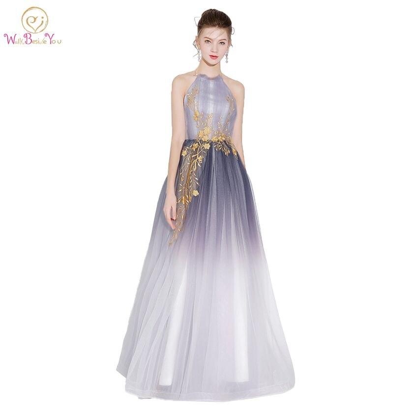 Walk Beside You Gray Evening Dresses Halter Gradient color Gold Lace ...