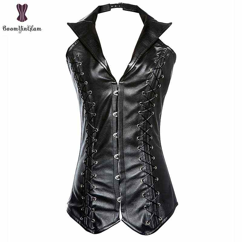a10670babf2 Top Quality Corset Steampunk Korset Steel Boned Waist Slimming Gorset Gothic  Plus Size Faux Leather Korsett