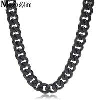 Moorvan hombres negro cadena langosta seis curb cut Acero inoxidable hip hop collares para hombres moda 10mm ancho joyería VN483