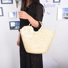 8261e6add4c4 Цветок Дизайн плеча Рынок Для женщин Сумки круглая деревянная ручка шоппер  сумка повседневная сумка корзина летние пляжные сумки.