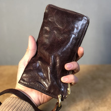 Original Handmade Wrinkle Wallet Leather Genuine Cow Vertical Mens Wallets Retro Money Clips Luxury Long Zipper Purse