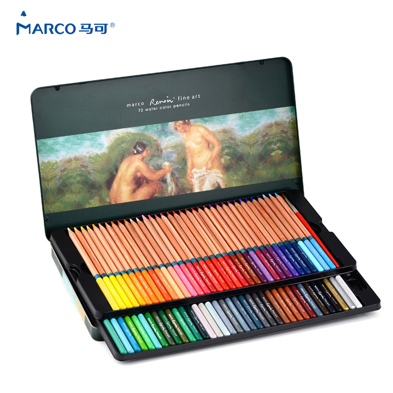 Us 20 78 34 Off Marco 3120 Prismacolor Colored Pencils 72 Watercolor Pencils Profesional Painting Set For Write Drawing Sketch Art Supplies On