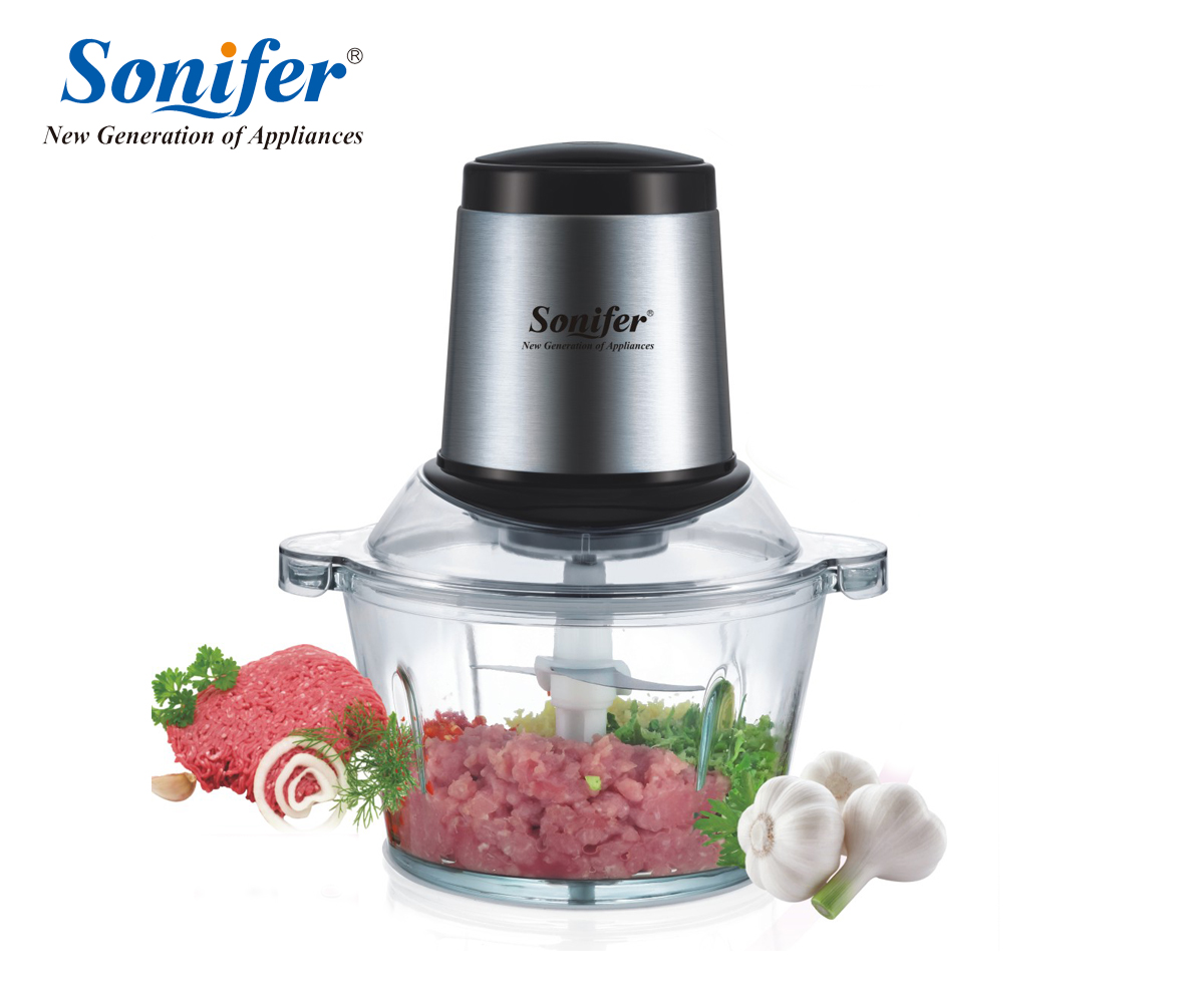 250W Home Stainless steel Electric Meat Grinder Sausage Stuffer Mincer Thick glass cup body Household Mincer Sonifer no 5 small household manual meat grinder aluminium alloy body with stainless steel blade