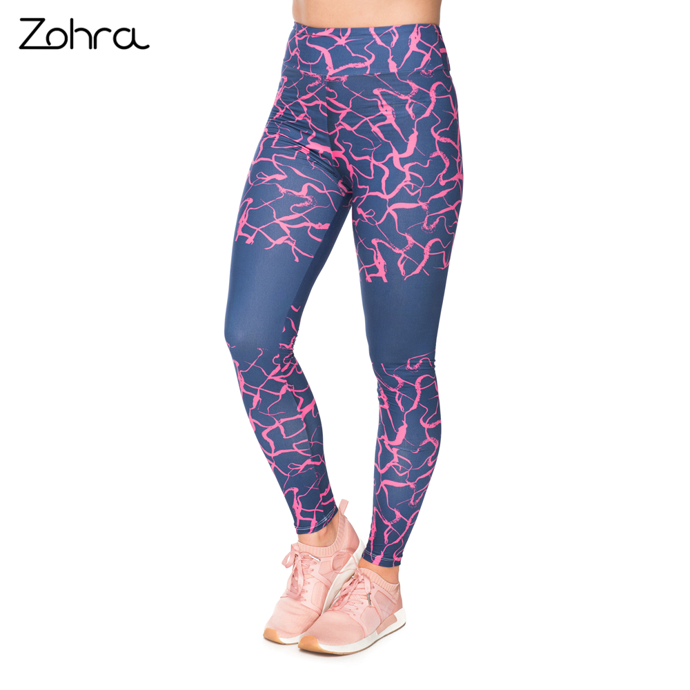 Zohra High Waist Pink Cracks Fashion Woman Sexy Printing   Legging   Slim Fit Exercise Pants Workout Fitness Bottoms