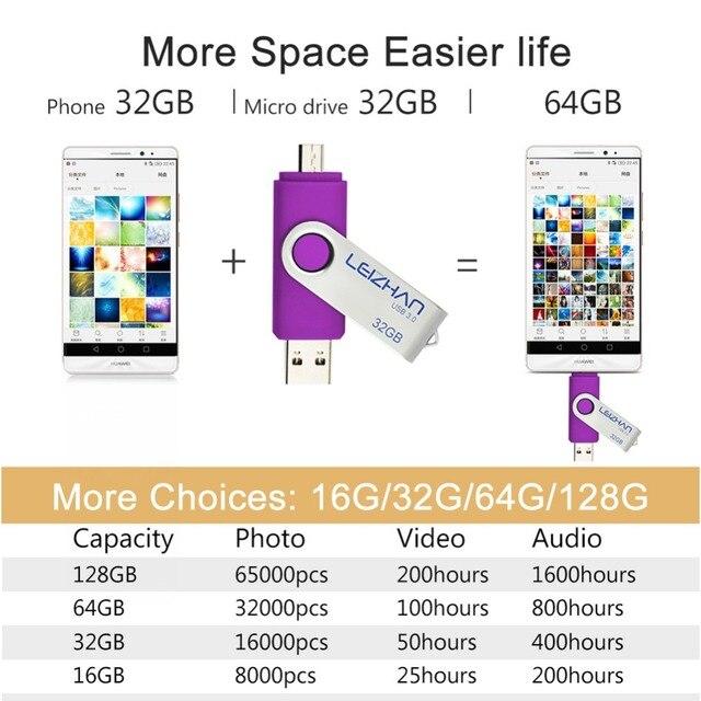 Memoria flash LEIZHAN OTG unidad flash usb 3,0 para android Teléfono micro pendrive pen drive foto stick 128gb 64gb 32gb 16gb 8gb memoria USB