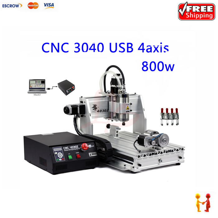 CNC router with rotary axis 3040 milling machine with 800w spindle and water pump  цены