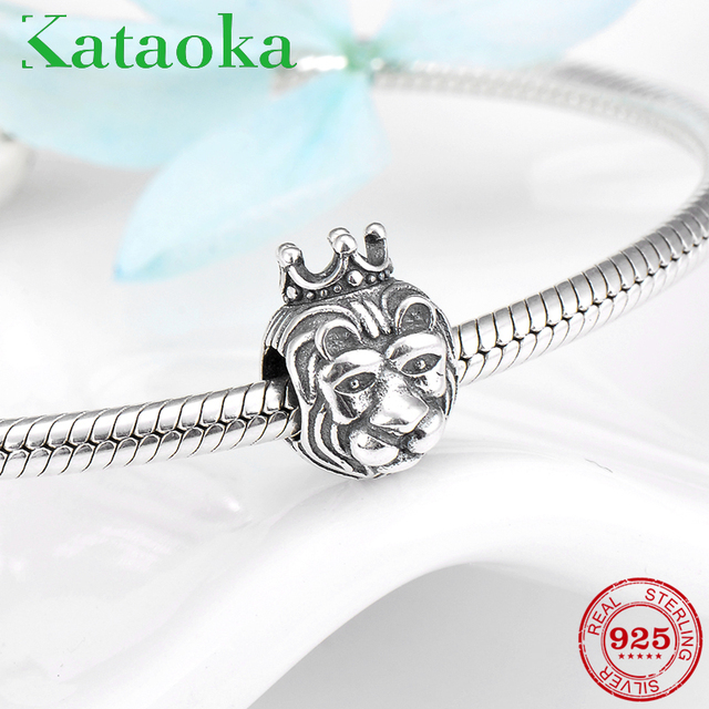 3d90159a4 2018 Fashion 925 Sterling Silver cool Lion King with crown fashion beads Fit  Original Pandora Charm Bracelet Jewelry making