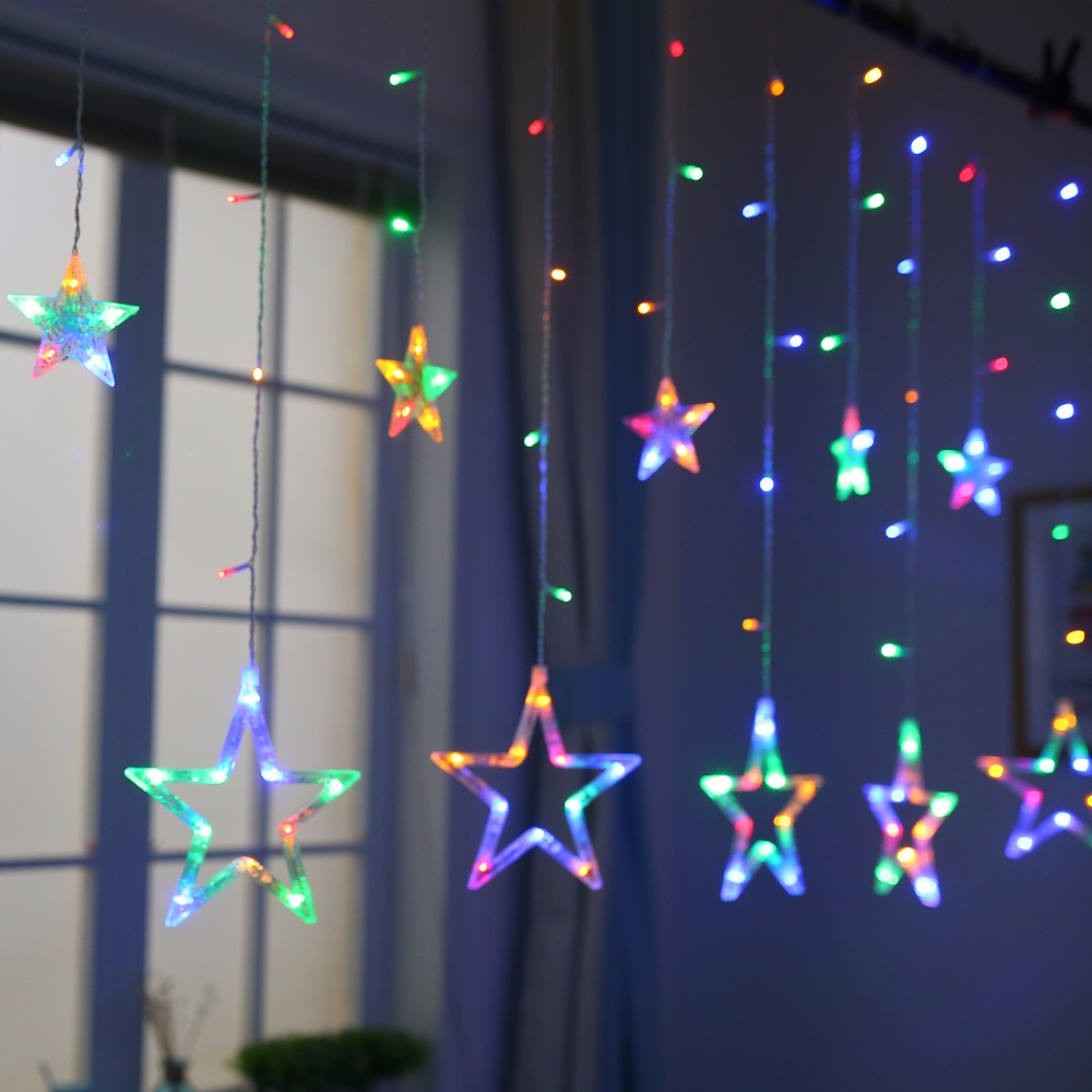 JUNJUE Holiday Lighting LED Fairy Star Curtain String luminarias Garland Decoration Christmas Wedding Pentagram String Light in LED String from Lights Lighting