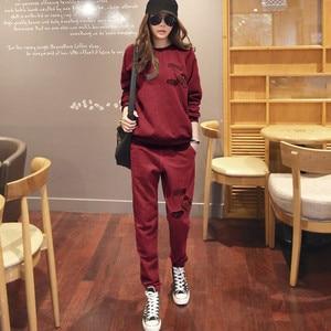 Image 5 - S 6XL Womens Sportswear Tracksuits Spring 2020 Autumn Winter Casual Plus Velvet Thick Sweatshirt + Pants Sets Female Plus Size