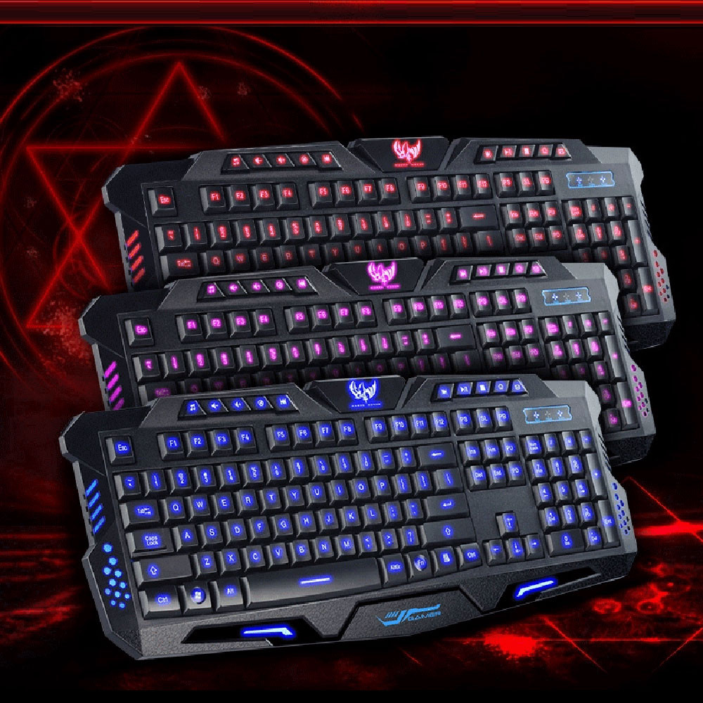 ISHOWTIENDA 11.11 New Arrival wholesale Price Three Color Backlight M200 Multimedia Ergonomic Gaming Keyboard Wired High Quality