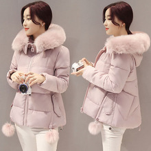 Winter Thick Women Hooded Short Jackets Fur Collar Slim Sweet Cute Female Coat Thermal Fashion All Match Outwear MY0137
