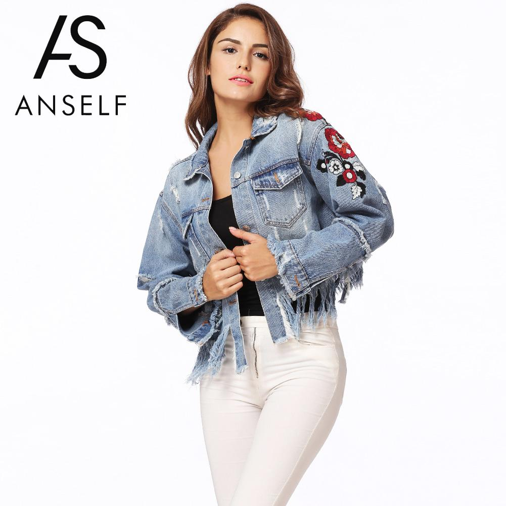 Anself Brand Winter Women Denim   Jacket   Floral Embroidery Ripped Fringe   Basic     Jacket   Long Sleeve Casual Jeans Coat Outerwear