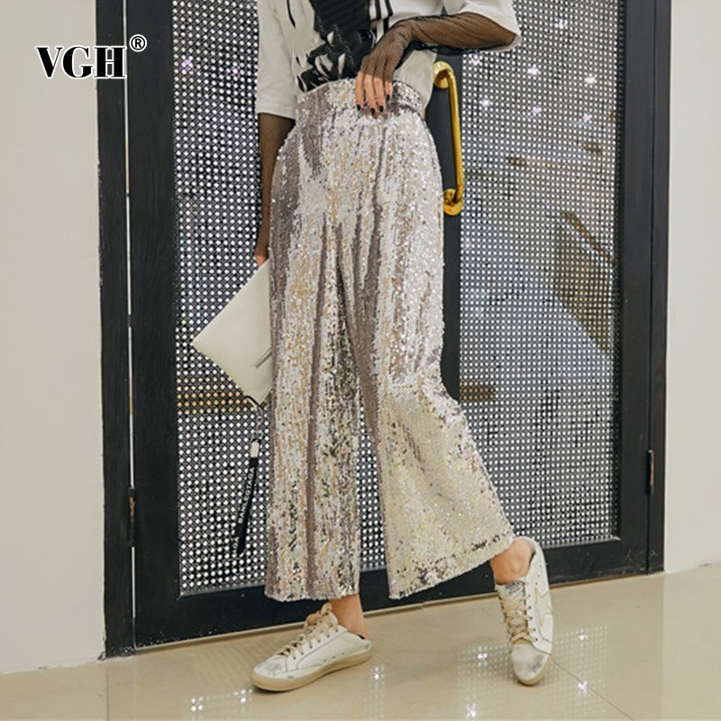 VGH 2019 Summer Sequins Patchwork Loose   Wide     Leg     Pants   For Women High Waist Ankle-length   Pant   Female Fashion New Streetwear