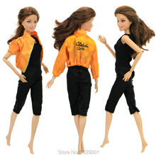 Handmade Sports Outfit Long Sleeves Orange Coat Black Jumpsuit Doll Clothes For Barbie FR Kurhn Doll Dollhouse Accessories Gift(China)