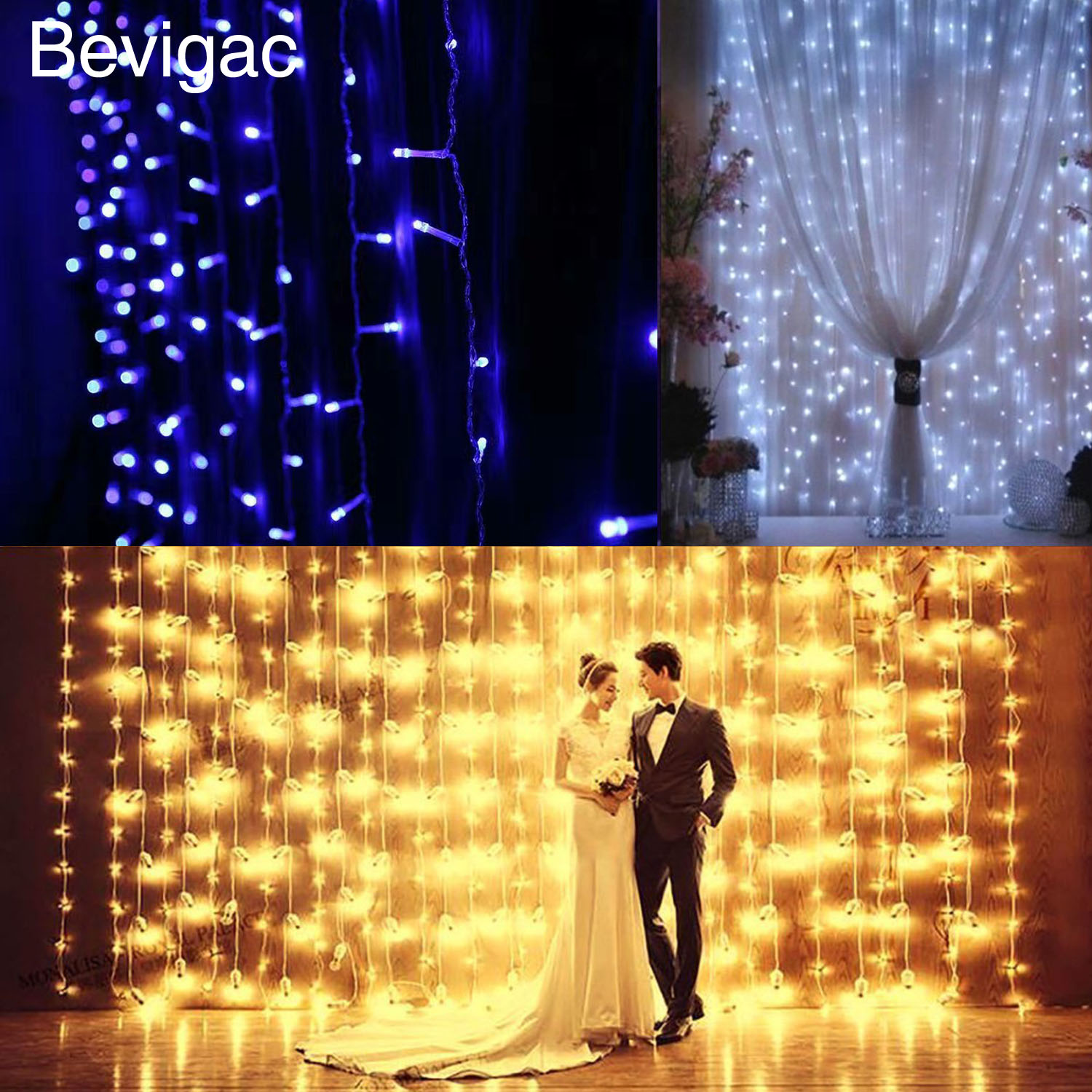 Bevigac 3x3m Fantastic Wall Window String Curtain LED Light Decoration for Christmas Halloween Wedding Outdoor Party Home Decor