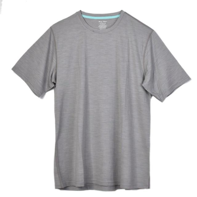 Mannen 100% Merino Wol Korte Out deur Crew T Shirts Lichtgewicht Atletiek Zomer Ademend Wicking Korte Mouw Basis Tee