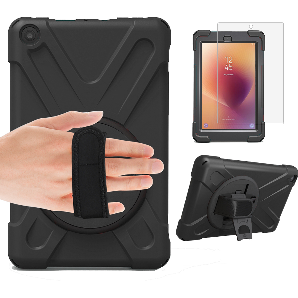 For Amazon Capa Kindle Fire HD 8 2017 HD8 360 Hand Rotating Case Armor Hybrid Kickstand Cover Pc + Silicone Shockproof Stand