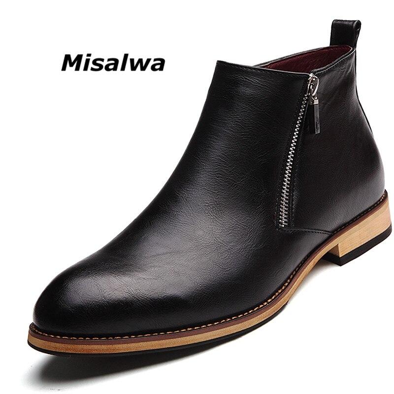 Misalwa Formal Men s Zipper Ankle Chelsea Dress Boots Premium Italian Leather Adult Male Shoes Short
