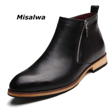 Misalwa Formal Mens Zipper Ankle Chelsea Dress Boots Premium Italian Leather Adult Male Shoes Short Wedding Free Shipping