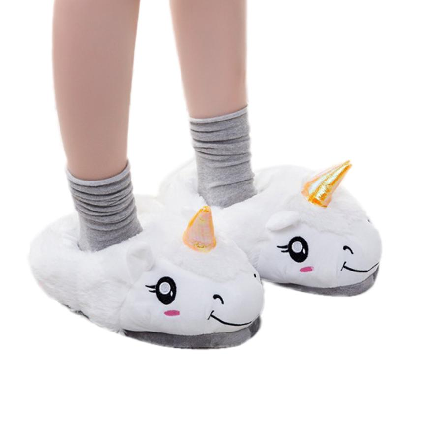 Cartoon Warm Indoor Slippers New Winter Plush Home Shoes Unicorn Slippers for Grown Ups Unisex Warm Home Slippers Shoes D45M19 dayan gem strange shape magic cube stress reliever brain teaser speed square magic puzzle educational game toys for children