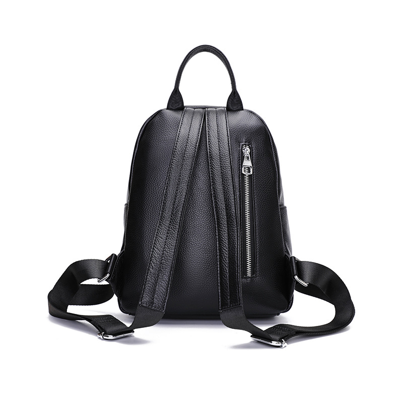 Genuine Leather Backpack Women Black Solid Zipper Female Leather Backpack Fashion Travel Backpack Bag High Quality Mochila Bolso in Backpacks from Luggage Bags