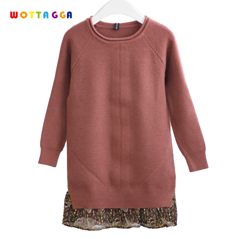 WOTTAGGA Girls Dress Sweater Acylic Cotton Pullover Long Sleeve Kids Sweater Floral Drape Turndown Collar Toddler Dress 3-7Y недорго, оригинальная цена
