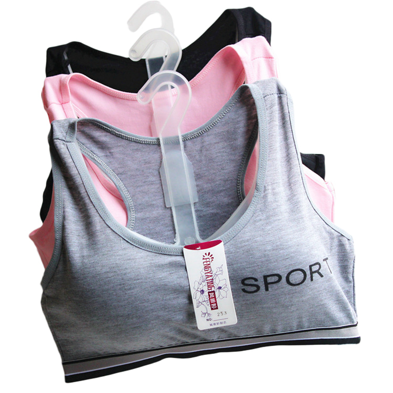 Teenage Girls Training Bras 2017 New Arrival Student Sport Wireless Bras Children Cotton Tank Tops Teens Underwear Solid GB02