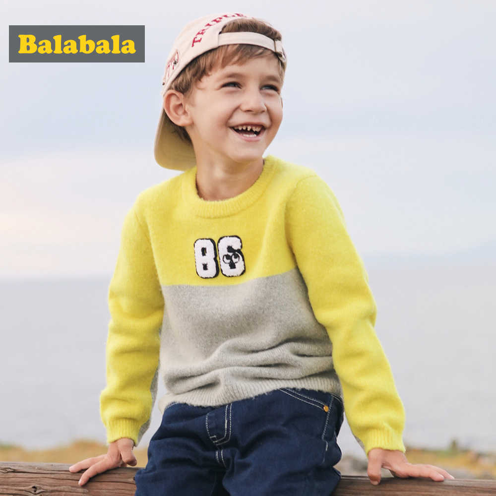 balabala Children Sweater Boys Clothing For Child Autumn Winter Sweater Fashion Pullover Letters Contrast Color Cardigan Boys