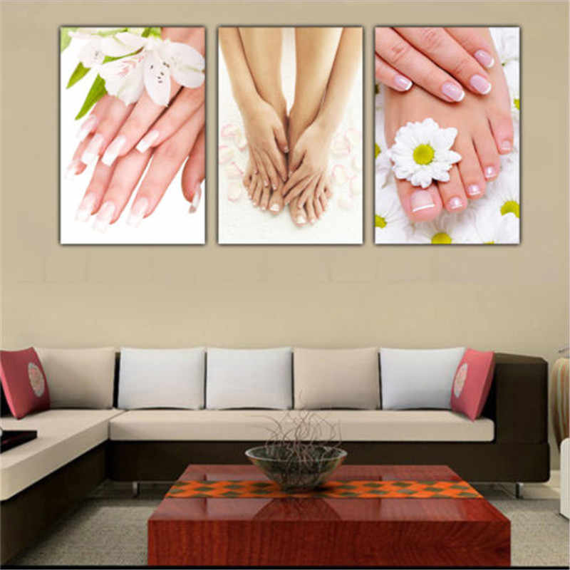 3 Panels Unframed Canvas Photo Prints Spa Nail Foot Massage Salon Wall Art Picture Canvas Paintings Wall Decorations