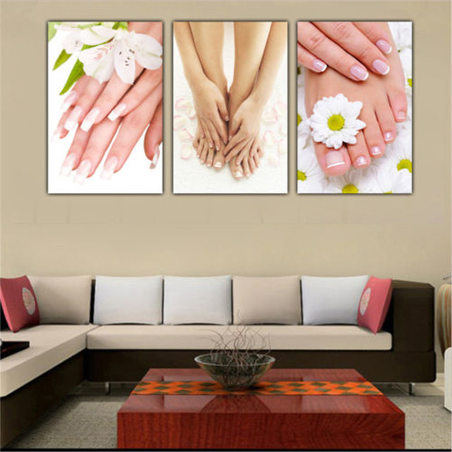 3 panels unframed canvas photo prints spa nail foot massage salon wall art picture canvas paintings